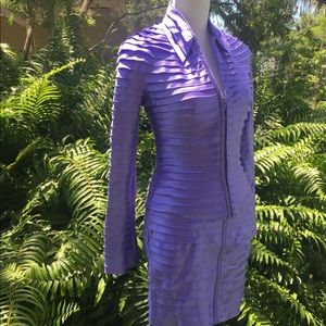 Rare Vintage TADASHI Purple SKIRT SUIT  Top XS/S